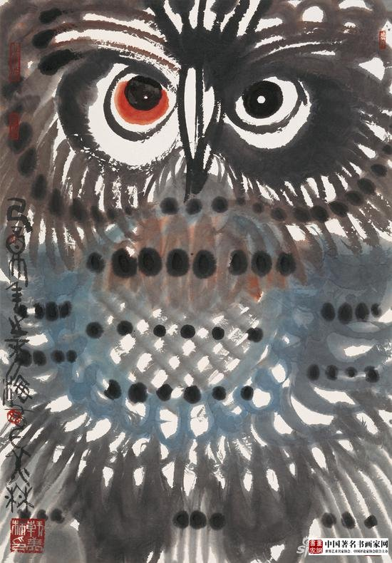 《Owl》;Material :Xuan paper, ink and wash;Size 100×69cm;Time 2005