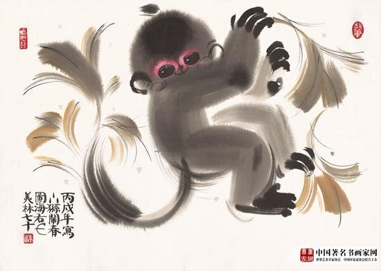 《Monkey》;Material Xuan paper, ink and wash;Size: 54×38cm;Time 2006
