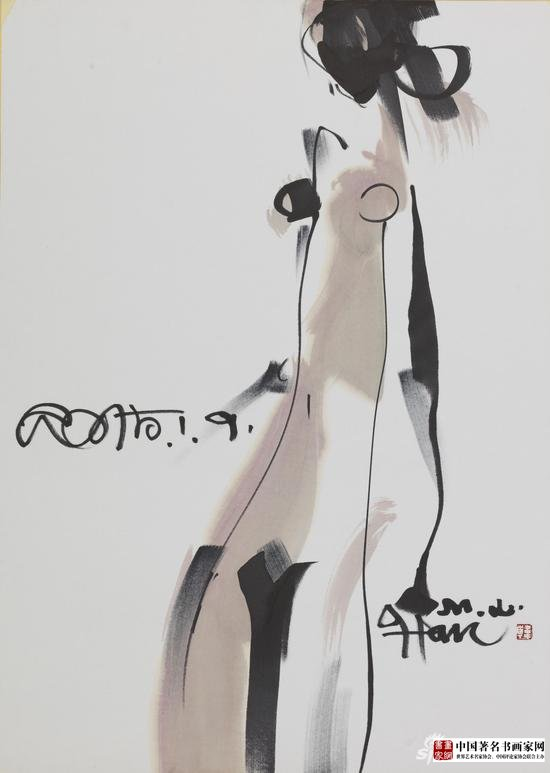 《Body》;Material Xuan paper, ink and wash;Size 110×80cm;Time 2015